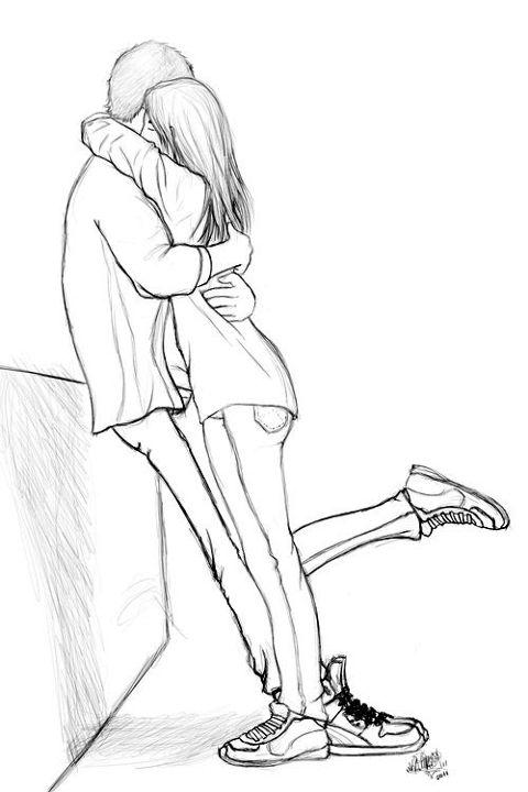 Парень с девушкой сзади рисунок карандашом