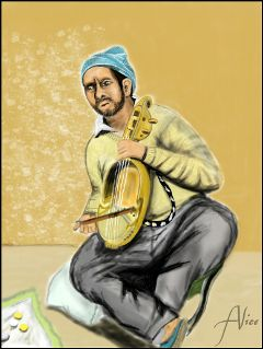 dcstreetmusician drawing portrait story music