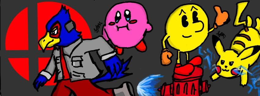 Original artwork drawn from Super Smash Bros. 4. Based on mains of my friends and I. #SuperSmashBros #ssb4 #sm4sh #FalcoLombardi #Falco #Kirby #PacMan #Pikachu #Nintendo