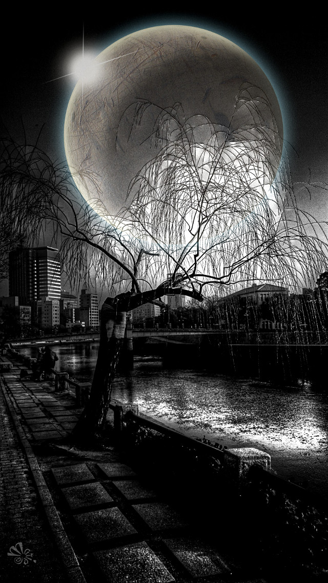 A re-edition for the tag  #clipart  in  #blackandwhite   adding the  #fullmoon on my  #street snap series