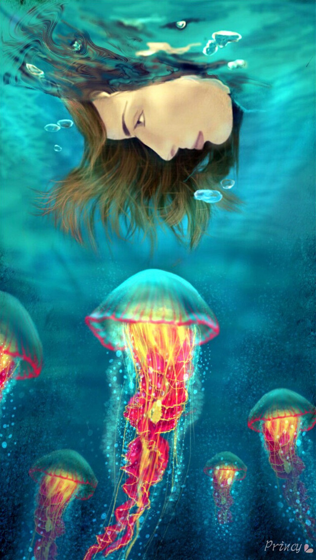 'Imagination will often carry us to worlds that never were. But without it we go nowhere.' For #DCjellyfish steps http://picsart.com/i/178134714000202 #digitaldrawing #art #drawing #girl #jellyfish #water #glowing #imagination #quotesandsayings