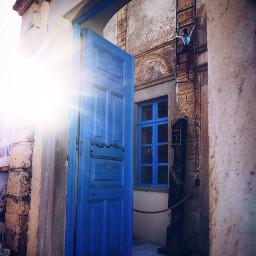 greece santorini bluedoor blue