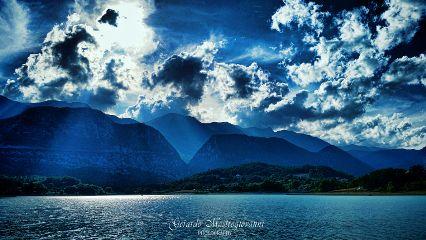 blue mountains landscape hdr lake