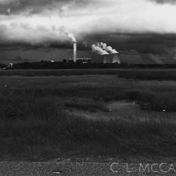 powerplant coolingstacks jacksonville wetland blackandwhite