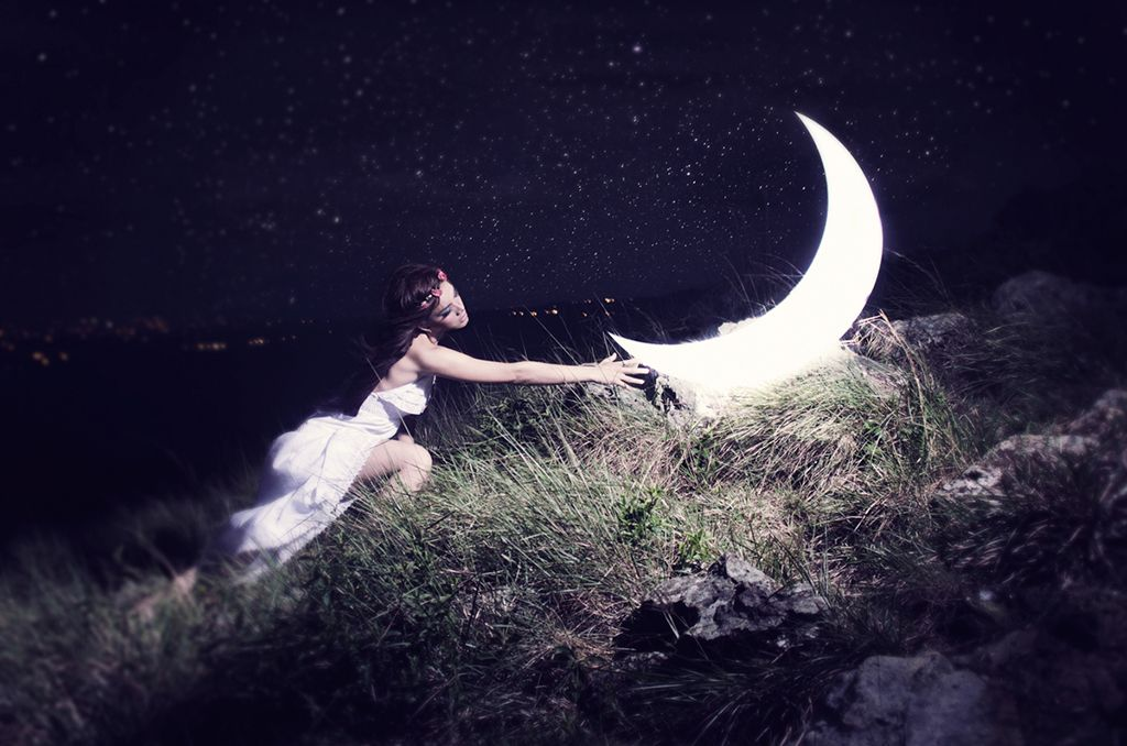 Fine art photo woman with moon